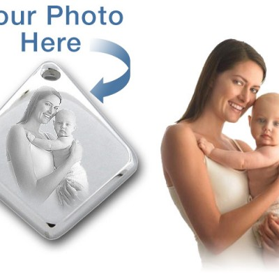 925 Sterling Silver 3D Diamond Photo / Picture Engraved Pendant - Custom With My Engraved