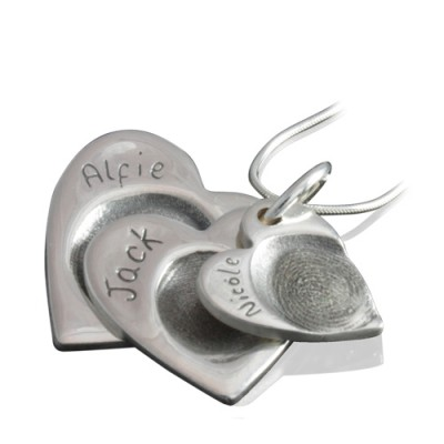 925 Sterling Silver FingerPrint Cascade Triple Heart Pendant - By The Name Necklace;