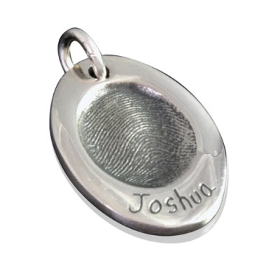 925 Sterling Silver FingerPrint Oval Pendant - By The Name Necklace;