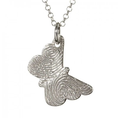 925 Sterling Silver FingerPrint Butterfly Pendant - By The Name Necklace;