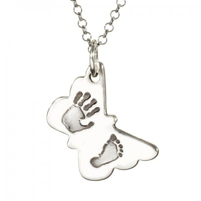 Butterfly Hand Foot Print Necklace - By The Name Necklace;
