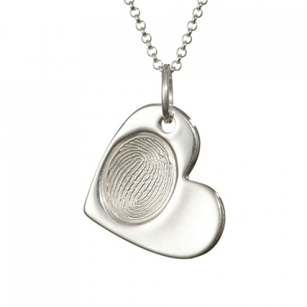925 Sterling Silver FingerPrint Cascade Heart Pendant - By The Name Necklace;