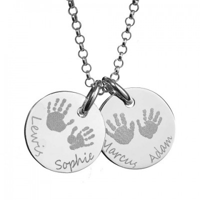 Large Engraved Handprint Necklace For Children With My Engraved