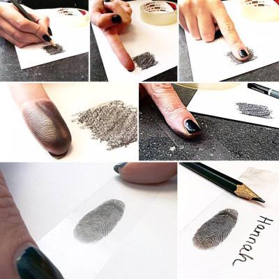 925 Sterling Silver FingerPrint Cascade TearDrop Pendant - By The Name Necklace;