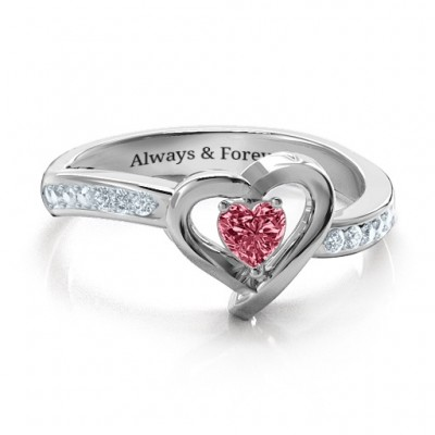 18ct White Gold Falling For You Accented Heart Ring - By The Name Necklace;
