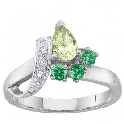 2-7 Stones Ribbon Ring  - By The Name Necklace;