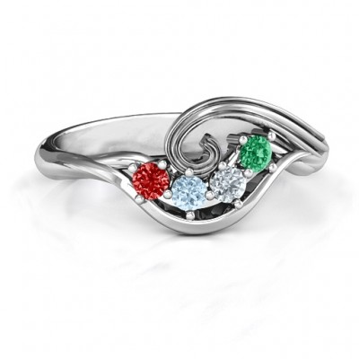 3 - 8 Stone Swirl Ring  - By The Name Necklace;