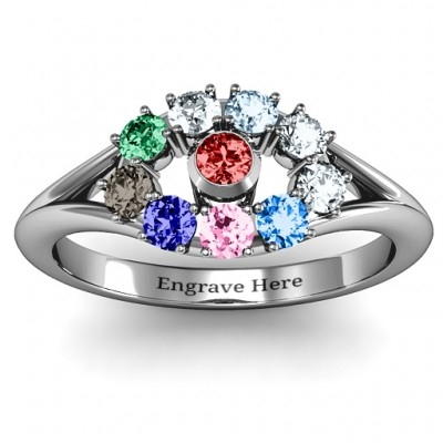 3 to 10 Stone  Solar  Ring  - By The Name Necklace;