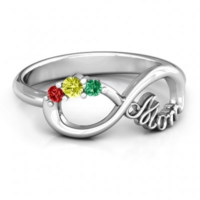 Mom's Infinite Love Ring with 2-10 Stones and 3 Cubic Zirconias Stones  - By The Name Necklace;