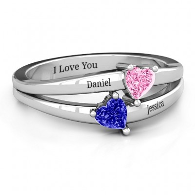 Twin Hearts Ring - By The Name Necklace;