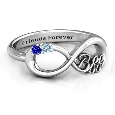 BFF Friendship Infinity Ring with 2 - 7 Stones  - By The Name Necklace;