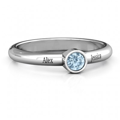 Bezel Set Solitaire Ring - By The Name Necklace;