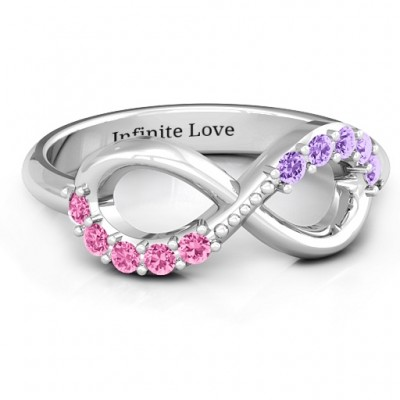 Birthstone Infinity Accent Ring  - By The Name Necklace;