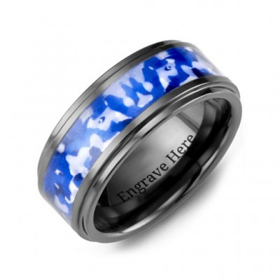 Blue Marine Camouflage Ceramic Wedding Ring - By The Name Necklace;