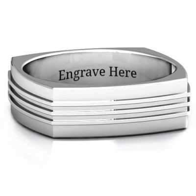 Bridge Grooved Square-shaped Men's Ring - By The Name Necklace;