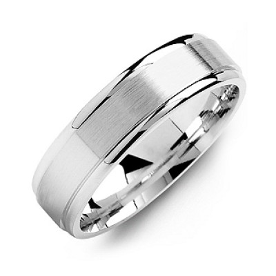 Brushed Centre Men's Ring with Polished Edges - By The Name Necklace;
