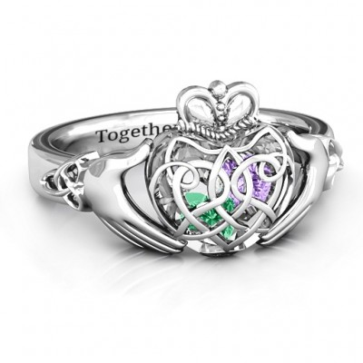 Caged Hearts Celtic Claddagh Ring - By The Name Necklace;