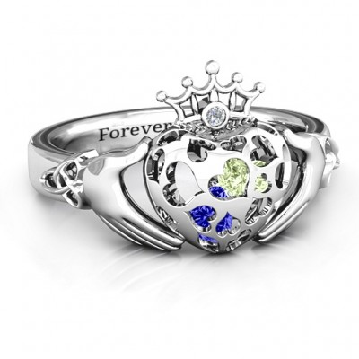 Caged Hearts Claddagh Ring - By The Name Necklace;