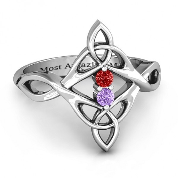 Celtic Sparkle Ring with Interwoven Infinity Band - By The Name Necklace;
