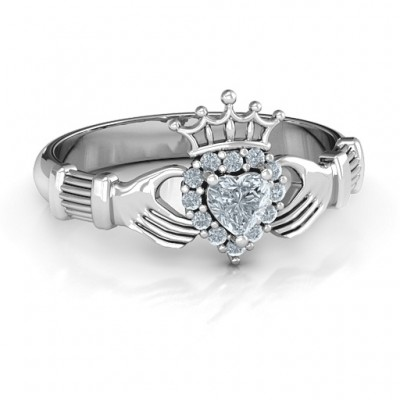 Claddagh with Halo Ring - By The Name Necklace;