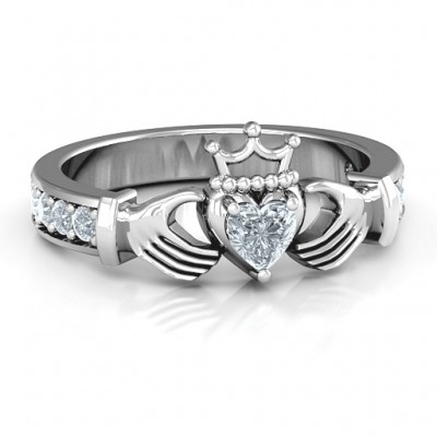 Classic Claddagh Heart Cut Ring with Accents - By The Name Necklace;