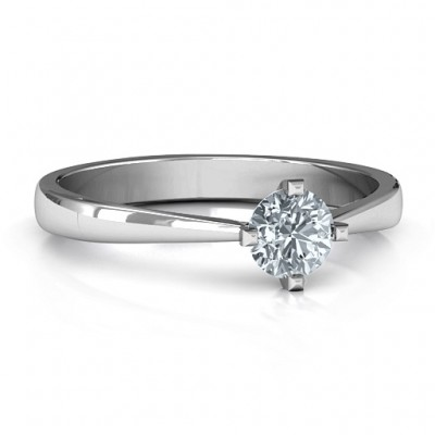 Classic Round Solitaire Ring - By The Name Necklace;