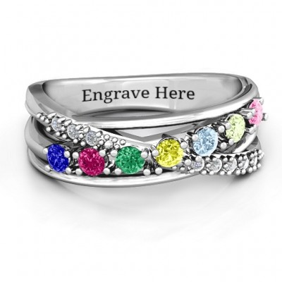 Crossover Accent Multi Band Ring - By The Name Necklace;