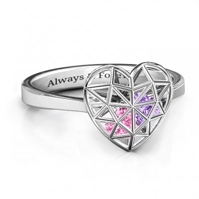 Diamond Heart Cage Ring With Encased Heart Stones  - By The Name Necklace;