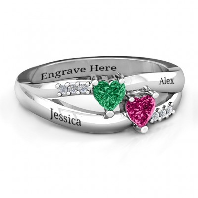 Dual Hearts with Accents Ring - By The Name Necklace;