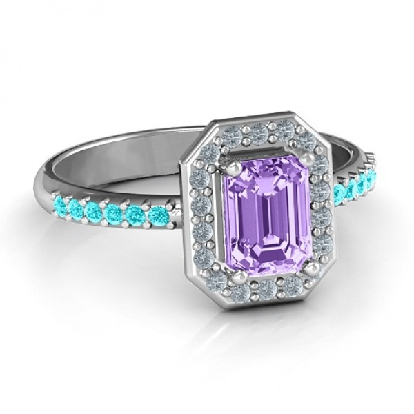 Emerald Cut Cocktail Ring with Halo - By The Name Necklace;