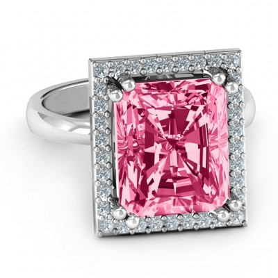 Emerald Cut Statement Ring with Halo - By The Name Necklace;