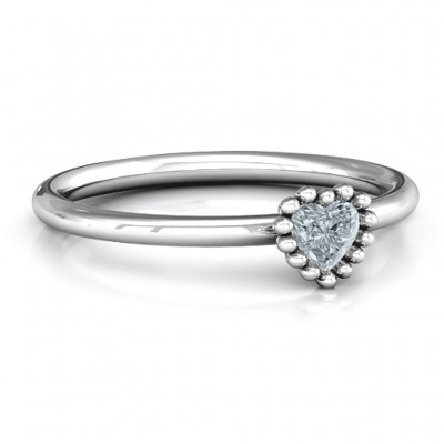 Encircled Prong Heart Ring - By The Name Necklace;