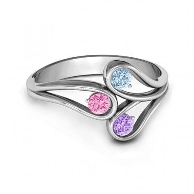 Eternal Elegance Three-Stone Ring  - By The Name Necklace;