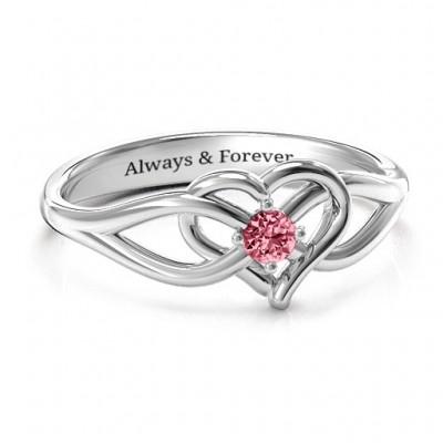 Everlasting Elegance Interwoven Heart Ring - By The Name Necklace;