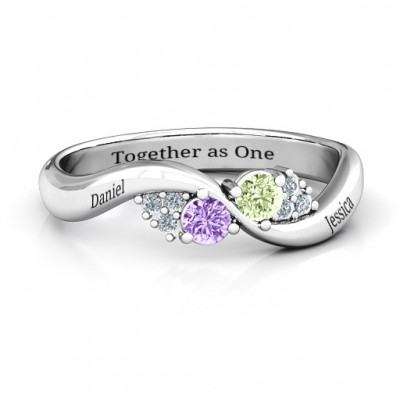 Everyday Dream Ring With Shoulder Accents - By The Name Necklace;