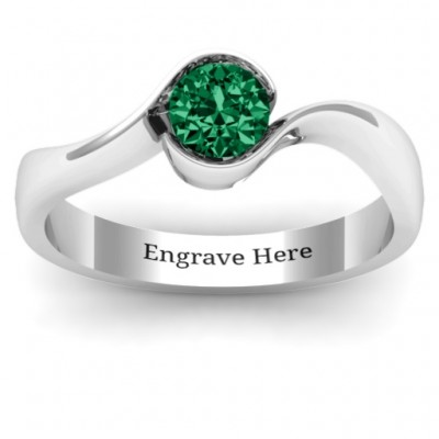 Fancy Solitaire Swirl Ring - By The Name Necklace;