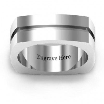 Fissure Grooved Square-shaped Men's Ring - By The Name Necklace;