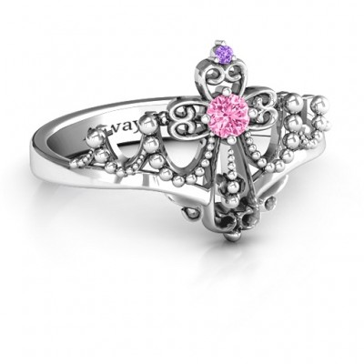 Forever And Always Tiara Ring - By The Name Necklace;