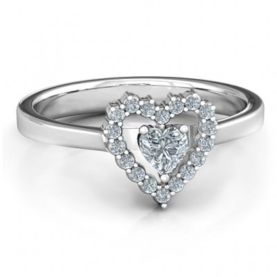 Heart in Heart Halo Ring - By The Name Necklace;
