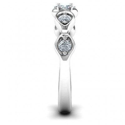Infinite Wave with Princess Cut Centre Stone Ring  - By The Name Necklace;