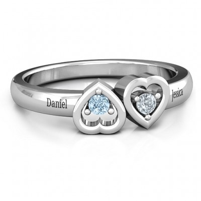 Inverted Kissing Hearts Ring - By The Name Necklace;