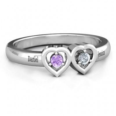 Kissing Hearts Ring - By The Name Necklace;