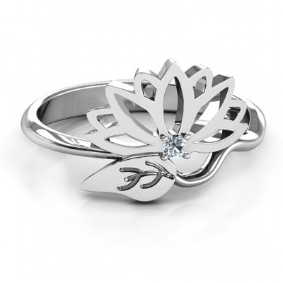 Leaves and Lotus Wrap Ring - By The Name Necklace;