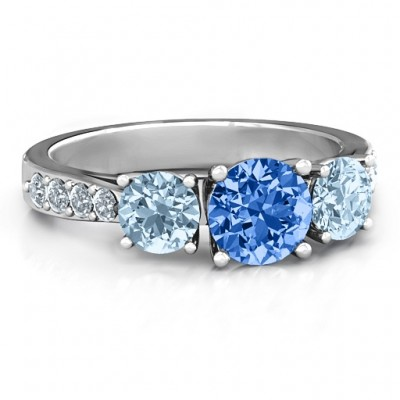 Majestic Three Stone Eternity Ring with Accents  - By The Name Necklace;