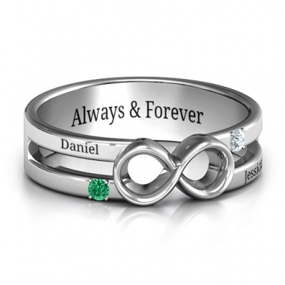 Men's Accented Infinity Ring - By The Name Necklace;
