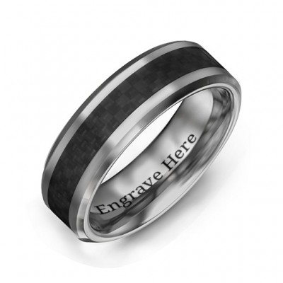Men's Black Carbon Fiber Inlay Polished Tungsten Ring - By The Name Necklace;