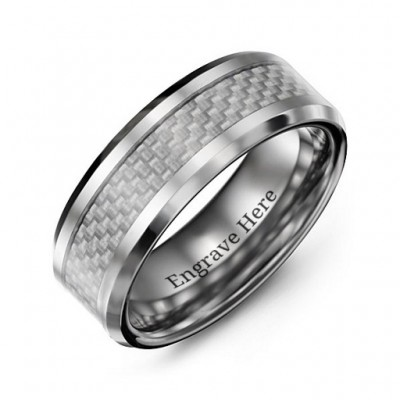 Men's Clear Carbon Fiber Inlay Polished Tungsten Ring - By The Name Necklace;