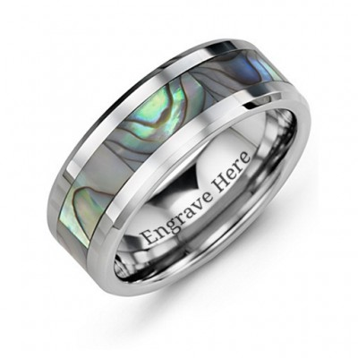 Men's Pearl Belt Tungsten Ring - By The Name Necklace;