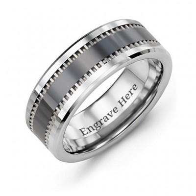 Men's Trail Tungsten Ring - By The Name Necklace;