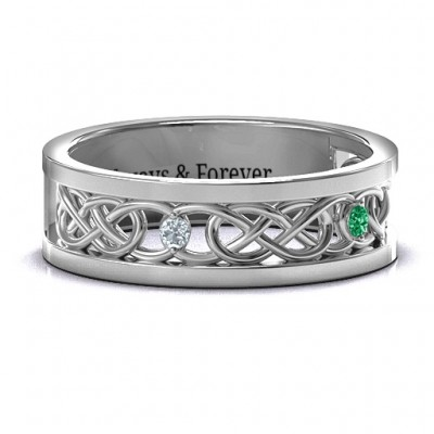 Men's Two-Stone Interwoven Infinity Band  - By The Name Necklace;